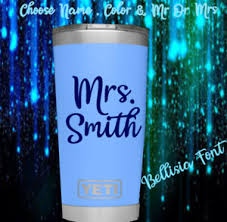 Monogram Vinyl Decal Sticker Name For Tumblers Cups Mr Or Mrs Name Ebay