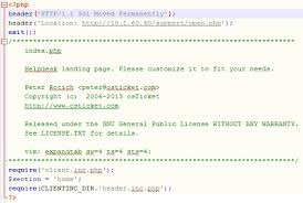 how to redirect support index php