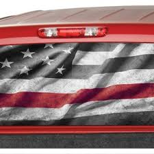 Firefighter Red Line Flag Rear Window Graphic Tint Decal Etsy