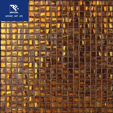 brown gold foil glass mosaic tile