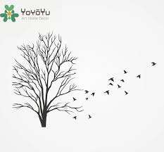 Yoyoyu 40 Color Vinyl Wall Decal With Flock Of Flying Birds Dead Winter Tree Branches Plant Home Decoration Stickers Zx027 Vinyl Wall Decals Wall Decalshome Decor Stickers Aliexpress