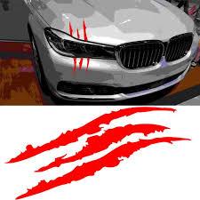 Universal Red Headlight Scratch Stripe Decal Sticker Claw Stripe Slash For Car Ebay