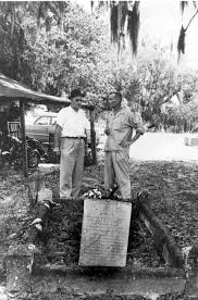 Florida Memory • Two men standing before the grave of Arabella ...