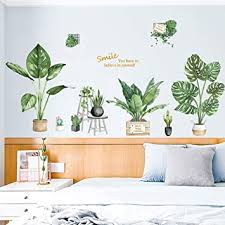 Amazon Com Riforla Green Plant Wall Decal Bonsai Flower Butterfly Cactus Wall Stickers Diy Mural Art Decoration For Living Room Bedroom Kitchen Nursery Home Decor Potted Plant Baby