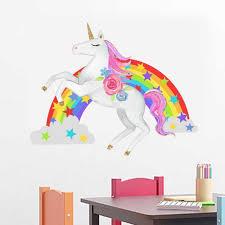 Unicorn Wall Stickers Diy Rainbow Vinyl Home Wall Decals For Kids Room Girls Bedroom Window Nursery Decor Wall Stickers Aliexpress