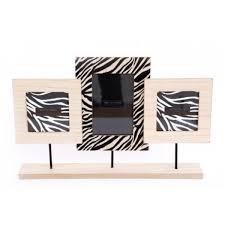 animal zebra print triple photo frame
