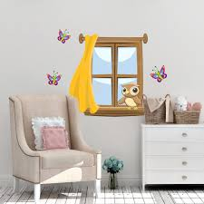 Super Cute Window Mural For Kids Room Walls