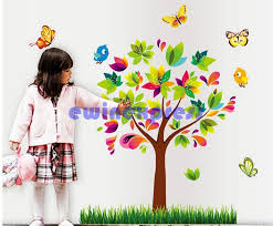 Butterfly Colorful Tree Green Grass Birds Wall Stickers Wall Arts For Kids Room Tree Wall Decal Baby Room Home Decoration Diy Removable Stickers Removable Stickers For Wall Decoration From Ewinexpress 7 63 Dhgate Com