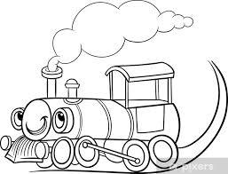 Fotobehang Cartoon Locomotief Of Motor Kleurplaat Pixers We