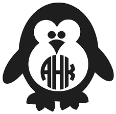 Penguin Decal Monogram Decal Personalized Penguin Decal Etsy In 2020 Monogram Decal Cricut Monogram Monogram