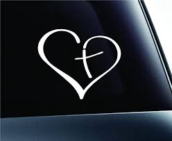 Amazon Com Heart With Cross In Center Decal Sticker Vinyl For Car Auto Christian 3 5 White Home Kitchen