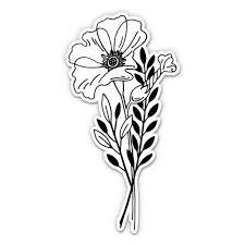 Pretty Poppy Flower Drawing Black And White 8 Vinyl Sticker For Car Laptop I Pad Waterproof Decal Walmart Com Walmart Com