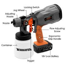 Terratek 18v Max Cordless Electric Spray Gun Fence Sprayer 700ml Pain Futura Direct