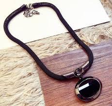 black big stone pendant necklaces