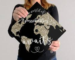 Graduation Cap Decal Download Only A World Of Possibilities Awaits Black Background Graduation Cap Decoration Graduation Cap Diy Graduation Cap
