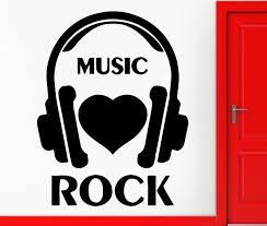 Wall Stickers Vinyl Decal I Love Rock Music Headphones Rock N Roll Decor Pattern Single Piece Package Modern Mirage Of Beauty Vinyl Decal Rock Musicwall Sticker Aliexpress