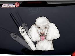 Poodle White Waving Dog Decal Wipertag For Rear Windshield Wiper Wipertags