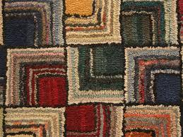 antique log cabin geometric hooked rug