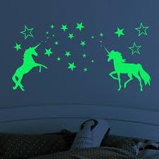 Akoada 2pcs Kids Stars And Unicorn Wall Stickers Glow In The Dark Night Luminous Wall Decal Stickers Wallpaper Decorations For Boys And Girls Bedroom Walmart Com Walmart Com
