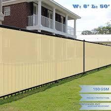E K Sunrise 8 X 50 Beige Fence Privacy Screen Commercial Outdoor Backyard Shade Windscreen Mesh Fabric