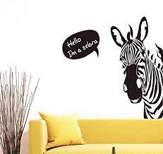 Amazon Com Bibitime Saying Hello Black White Zebra Wall Stickers Nursery Bedroom Vinyl Decal Home Cartoon Art Mural Kids Room Decor Home Kitchen