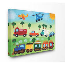 The Kids Room By Stupell The Kids Room By Stupell Planes Trains And Automobiles Canvas Wall Art By Njoyart Walmart Com