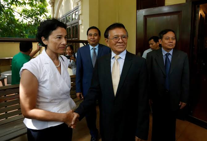 Image result for Cambodian opposition leader meets French envoy after house arrest lifte""
