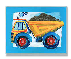Dump Truck Wall Plaque Kids Room Stupell Boys Boy Blue Yellow Decor Nursery New Ebay
