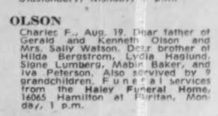 Obituary for Charles F. Olson - Newspapers.com