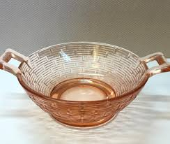 glass basket pink depression glass bowl