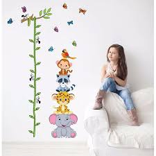 Cute Tiger Animals Stack Height Measure Wall Stickers Decal Kids Adhesive Vinyl Wallpaper Mural Baby Girl Boy Room Nursery Decor Bedwinthine
