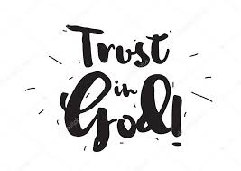 trust in god greeting card calligraphy hand drawn design