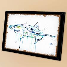 Strech Black Framed Shark Print Shark Art Shark Watercolour Ocean Art Marine Animal Sea Life Modern Watercolour Gallery Wall Great White Shark 16x20inch Wish
