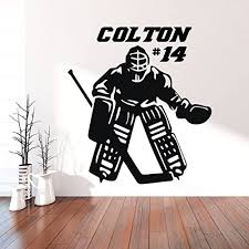 Amazon Com Hockey Goalie Wall Decal Personalized Vinyl Decor For Teen Boy S Bedroom Or Playroom Sports Decorations Handmade