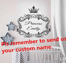 Princess Crown Wall Sticker Custom Baby Name Wall Art Decal Monogram Design Nursey Decoration Princess Style Wallpaper Az319 Wall Stickers Aliexpress