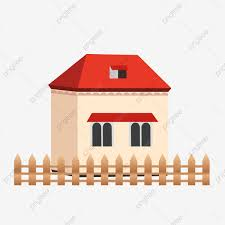 Fence Red House Cartoon Lovely Decoration Red Roof Yellow Facade Png And Vector With Transparent Background For Free Download