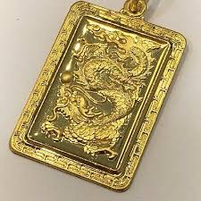 24k yellow gold dragon pendant chinese