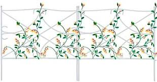 Amazon Com Mr Garden Edging Fence Metal Decorative Garden Barrier Panels 7pack 24 X24 Dog Outdoor Fence Coated Folding Border Fences For Garden Patio Tree Ring White Without Decorative Flowers Garden Outdoor