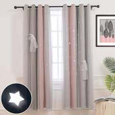 Amazon Com Hughapy Star Curtains Stars Blackout Curtains For Kids Girls Bedroom Living Room Colorful Double Layer Star Cut Out Stripe Window Curtains 1 Panel 52w X 84l Pink Grey Home