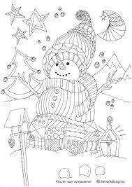 Kleurplaat Voor Volwassenen Winter Sneeuwpop Kleurplaten Voor