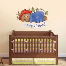 Amazon Com Baby Paddington Bear Wall Sticker Sleepy Head Decal Kids Wall Art Mural Bedroom Nursery 90cm Width X 60cm Height Baby