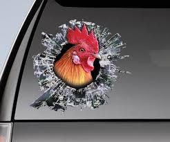Red Rooster Window Sticker Car Sticker Rooster Car Decal Etsy