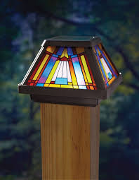 Solar Post Light Cap Stained Glass Led Light Pole 4x4 Outdoor Garden Yard Lamp Moonrays Stainedglass Solar Post Lights Solar Post Caps Solar Lights