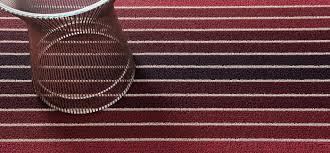 chilewich block stripe rugs cranberry