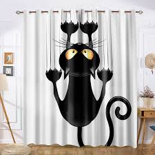 Black Cat Cute Cartoon Funny Curtain Opaque For Kids Room Bay Window