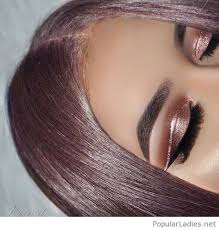 rose gold hair color and eye makeup