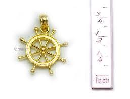 14k gold captains wheel charms pendants