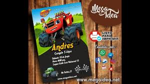 Invitacion Blaze And The Monster Machines Mega Idea