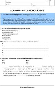 Acentuacion De Monosilabos Pdf Descargar Libre