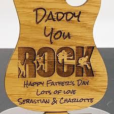 personalised dad you rock oak guitar
